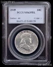 1949 Franklin Silver Half Dollar in PCGS MS 63 FBL (Full Bell Lines)