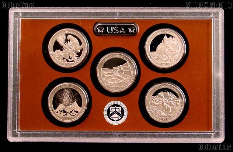 2012 National Parks Quarter Proof Set - 5 Coins