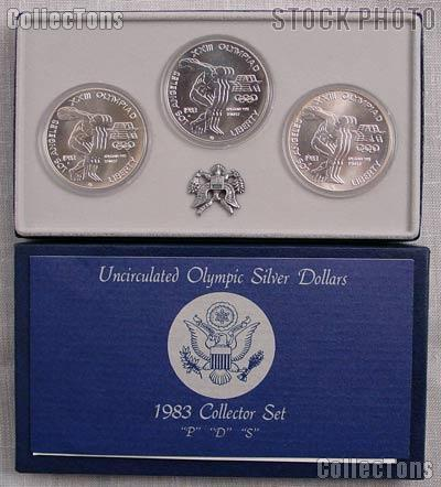 1983 Olympic Discus Thrower 3-Coin (P,D,S) Commemorative Uncirculated Silver Dollar Set