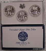 1984 Olympic Coliseum 3-Coin (P,D,S) Commemorative Uncirculated Silver Dollar Set