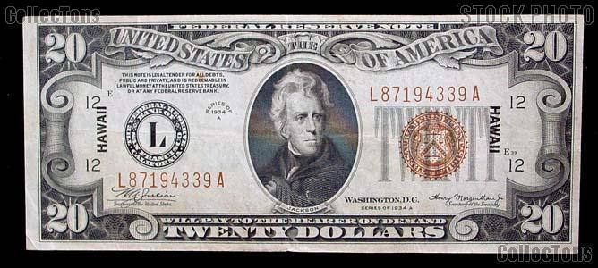 Twenty Dollar Bill Hawaii Note Brown Seal US Currency Good or Better
