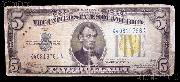 Five Dollar Bill North Africa Note Yellow Seal US Currency