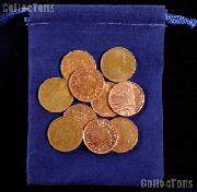 10 Randomly Selected British Pennies In Blue Velour Bag
