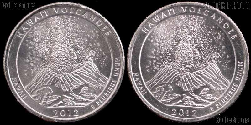 2012 P & D Hawaii Volcanoes National Park Quarters GEM BU America the Beautiful