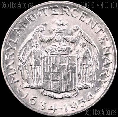 Maryland Tercentenary Silver Commemorative Half Dollar (1934) in XF+ Condition
