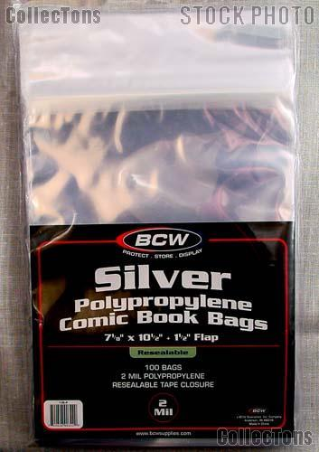 Silver Age Comic Book Resealable Bags Polypropylene Pack Of 100 By Bcw