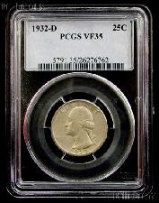 1932-D Washington Silver Quarter KEY DATE in PCGS VF 35