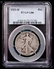 1921-D Walking Liberty Silver Half Dollar KEY DATE in PCGS G 6