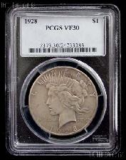 1928 Peace Silver Dollar KEY DATE in PCGS VF 30