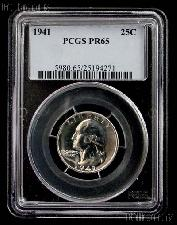 1941 Washington Silver Quarter PROOF in PCGS PR 65