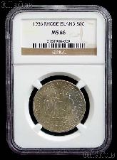 1936 Providence Rhode Island Tercentenary Silver Commemorative Half Dollar in NGC MS 66