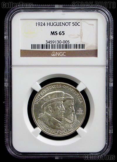1924 Huguenot Walloon Tercentenary Silver Commemorative Half Dollar in NGC MS 65