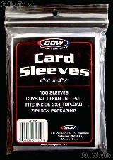Baseball Card Sleeves w/ Ziplock Bag by BCW 100 Sleeves for Sports and Trading Cards