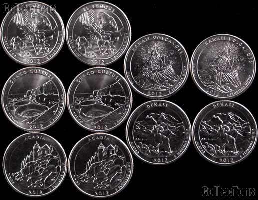 2012 National Park Quarters Complete Set P & D Uncirculated (10 Coins) PR, NM, ME, HI, AK