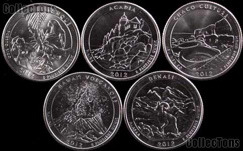 2012 National Park Quarters Complete Set Philadelphia (P) Mint  Uncirculated (5 Coins) PR, NM, ME, HI, AK