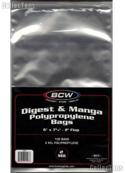 Manga Comics or Reader's Digest Polypropylene Bags - Pack of 100 by BCW