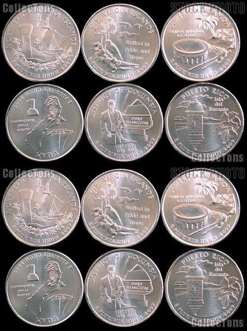 2009 State Quarters Set of 12 BU Coins DC & Territory Quarters P & D Mints