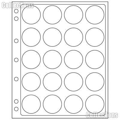 Coin Pages for Capsules fits CAPS 38-39 & Model H Capsules: Large Dollar (Morgan, Peace, Ike),  $5 Silver Maple Leaf by Lighthouse Pack of 2 Pages for 20 Coins Each