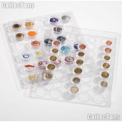 Coin Pages for Coin Capsules fits EURO Coins (1 Cent - 2 EURO) by Lighthouse Pack of 2 Pages for 40 Coins Each