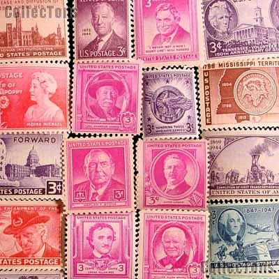 25 Different 3 Cent Stamps from the 1940s - Unused Commemorative Stamp Collection