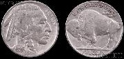 Buffalo Nickel Type 2 FIVE CENTS in Recess (1913 - 1938) One Coin G+ Condition