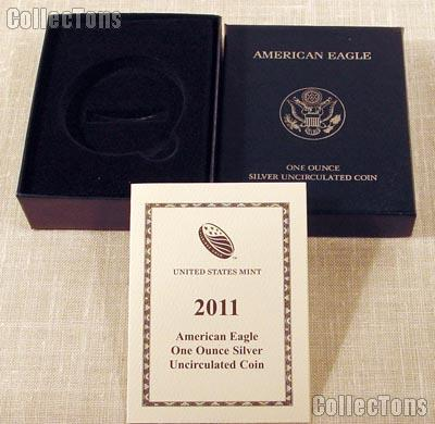 2011-W American Silver Eagle Dollar Uncirculated Burnished OGP Replacement Box and COA