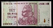 Zimbabwe 50 Trillion Dollar Bill Bank Note 2008 Uncirculated Banknote - Hyperinflation Money