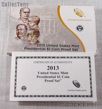 2013 U.S. Mint PRESIDENTIAL DOLLAR Proof Set OGP Replacement Box and COA