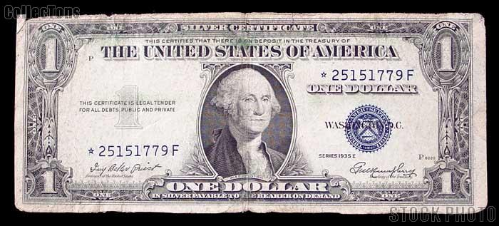 One Dollar Bill Silver Certificate STAR NOTE NO MOTTO Series 1935 US ...