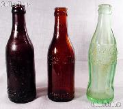 Antique Coke Bottle Set: 3 Rare Old Vintage Collectible Glass COKE Bottles