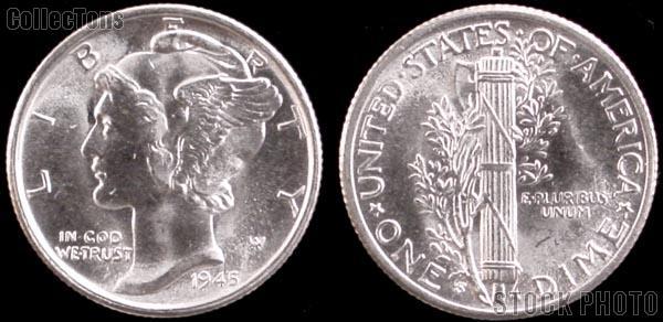Mercury Silver Dimes 5 Different Coin Lot BU Condition