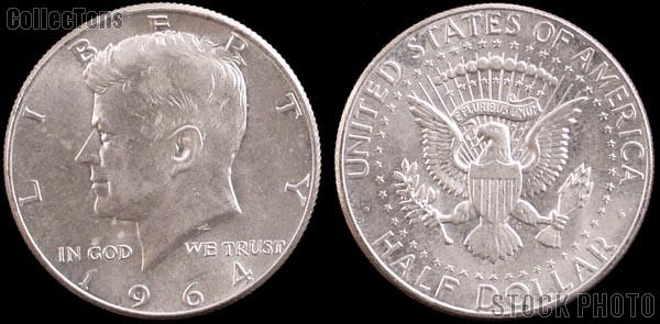 1964 Kennedy 90% Silver Half Dollar One Coin Brilliant Uncirculated Condition