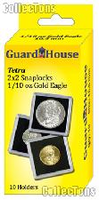 2x2 Coin Holders Box of 10 Guardhouse Tetra Snaplocks for 1/10 oz GOLD EAGLES