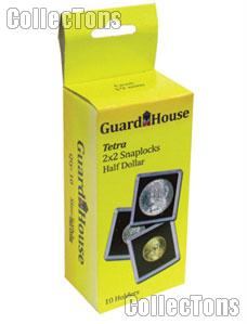 2x2 Coin Holders Box of 10 Guardhouse Tetra Snaplocks for HALF DOLLARS