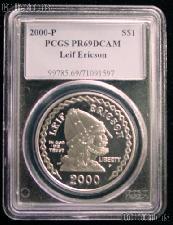2000-P Leif Ericson Commemorative Proof Silver Dollar in PCGS PR 69 DCAM