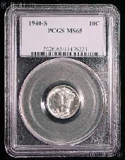 1940-S Mercury Silver Dime in PCGS MS 65