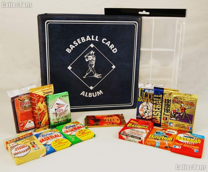 Baseball Card Collecting Starter Set / Kit MLB with 12 Baseball Card Packs, Binder, & Pages