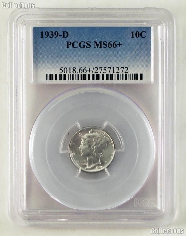 1939-D Mercury Silver Dime in PCGS MS 66+