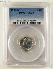 1939-S Mercury Silver Dime in PCGS MS 65