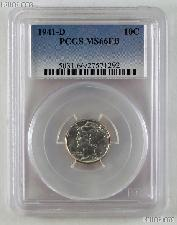 1941-D Mercury Silver Dime in PCGS MS 66 FB (Full Bands)