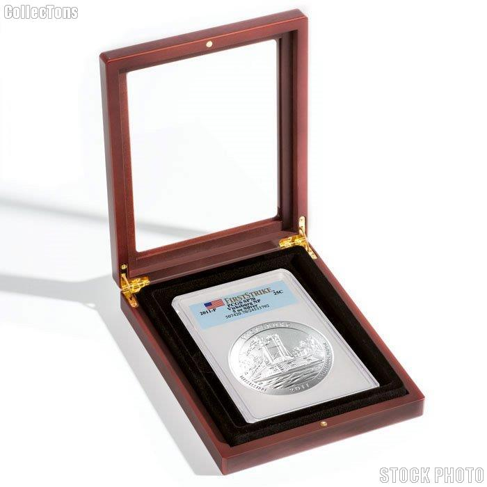 "Glass Top Wooden Coin Display Case (Box) for Large Certified Slab Coins PCGS or 3"" Coins in Capsule by Lighthouse"