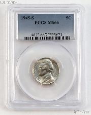 1945-S Jefferson Silver War Nickel in PCGS MS 66