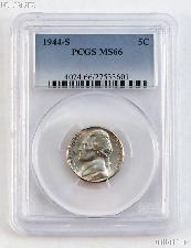 1944-S Jefferson Silver War Nickel in PCGS MS 66