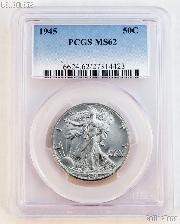 1945 Walking Liberty Silver Half Dollar in PCGS MS 62