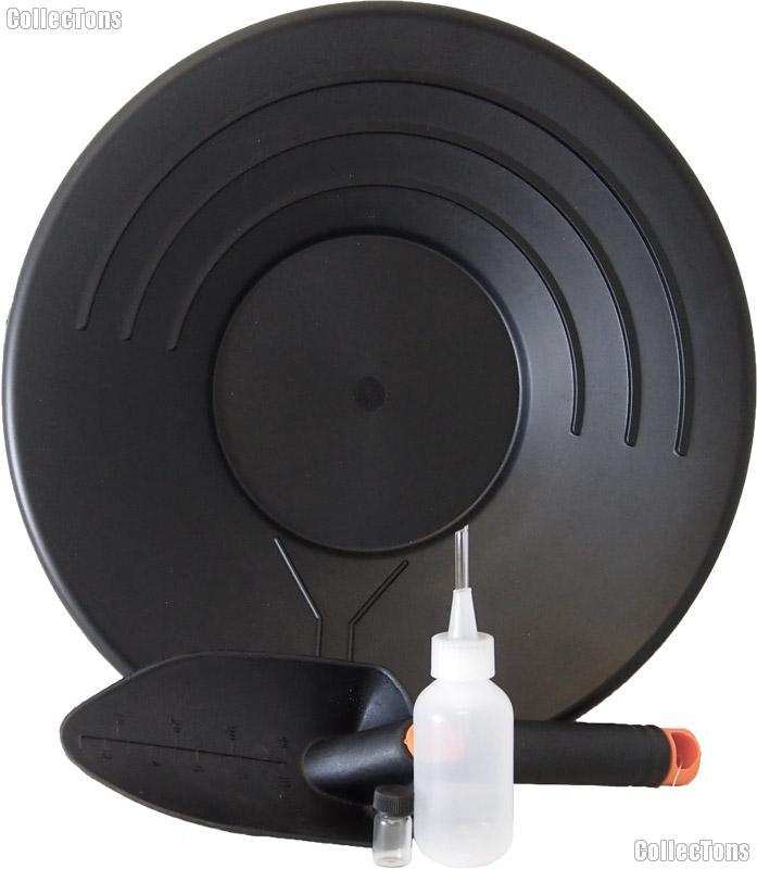 """14"""" Gold Pan, Glass Vial, Snuffer Bottle, & Trowel Set - Equipment for Prospecting"""