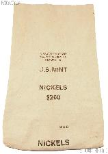 Official US Mint $200 NICKELS Canvas Money / Coin Bag