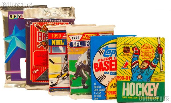 Sports Cards Pack of 6 Different Sealed Trading Cards MLB, NFL, NBA, NHL