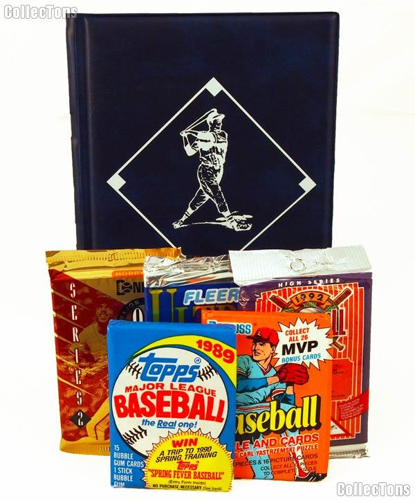Baseball Card Collecting Starter Set / Kit MLB with 3 Baseball Card Packs & Album