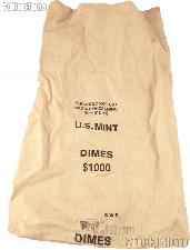 Official US Mint $1000 DIMES Canvas Money / Coin Bag