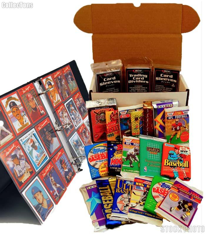Sports Card Collecting Starter Set Kit MLB, NFL, NBA, NHL with 18 Card Packs, Sleeves, Binder & Storage Box